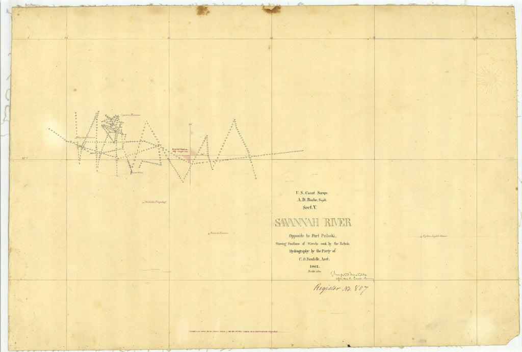 18 x 24 inch 1862 US old nautical map drawing chart of Savannah River Opposite to FT. PULASKI, Georgia From  U.S. Coast Survey x292