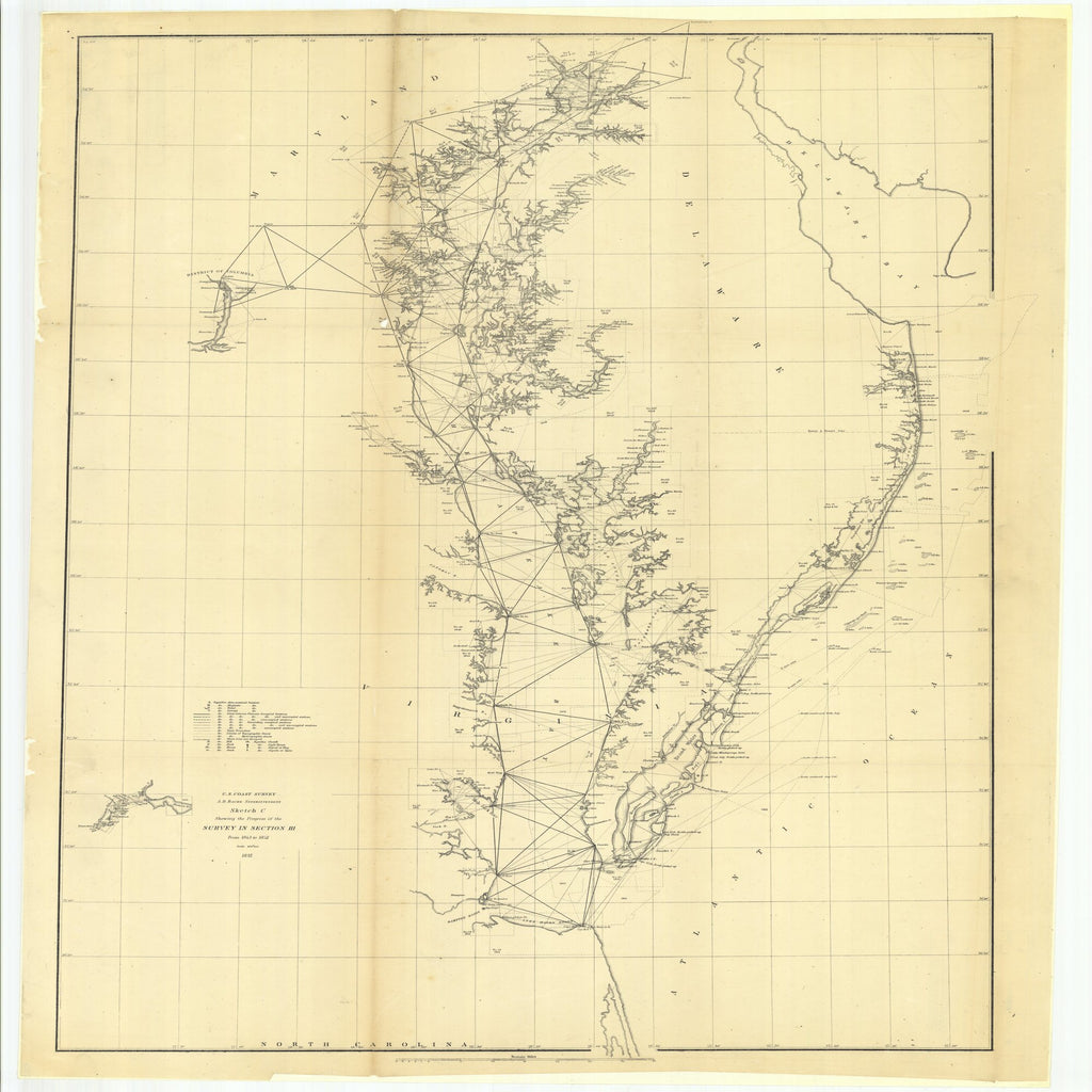 18 x 24 inch 1852 Virginia old nautical map drawing chart of Sketch C Showing the Progress of the Survey in Section 3 From  U.S. Coast Survey x9501