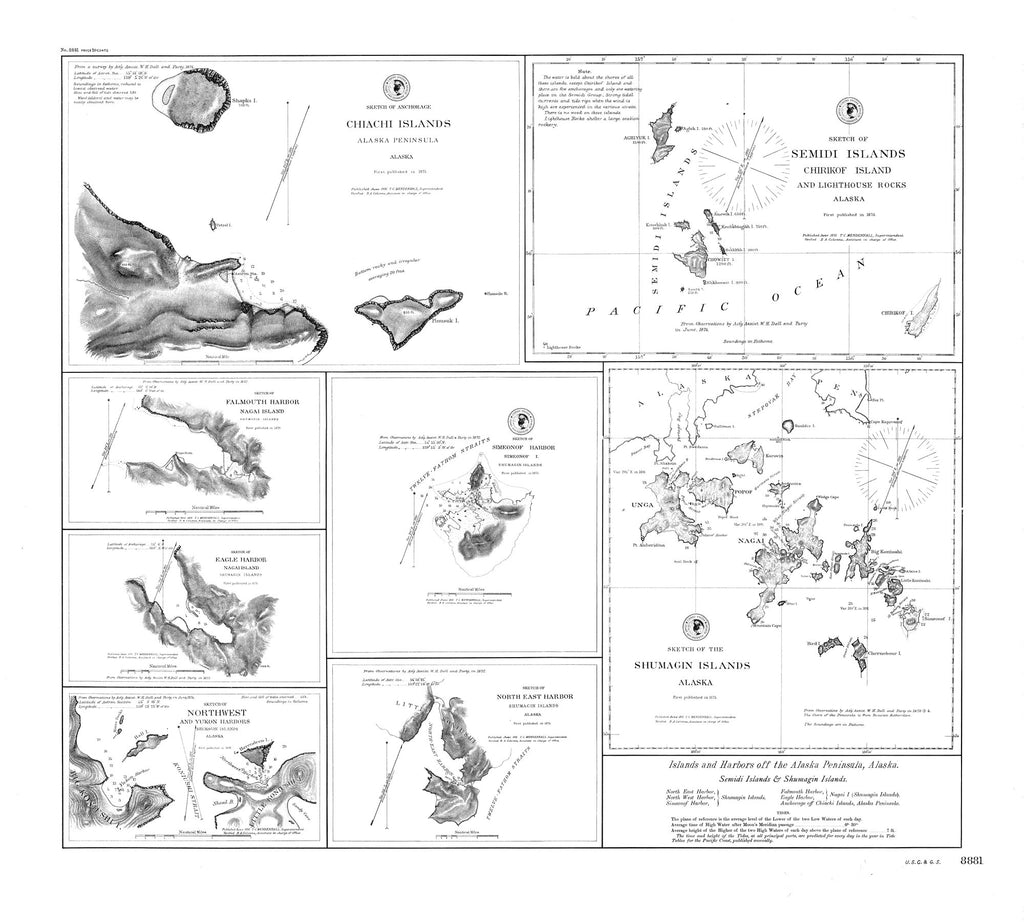 18 x 24 inch 1875 US old nautical map drawing chart of Islands and Harbors off the Alaska Peninsula : Semidi Islands and Shumagin Islands From  C&GS x1400