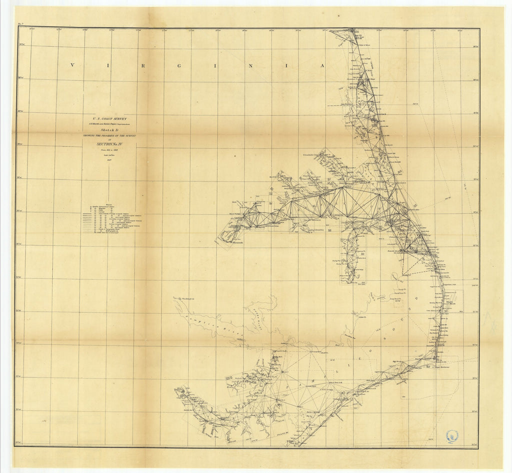 18 x 24 inch 1869 North Carolina old nautical map drawing chart of Sketch D Showing the Progress of the Survey in Section Number 4 from 1845 to 1868 From  U.S. Coast Survey x7192