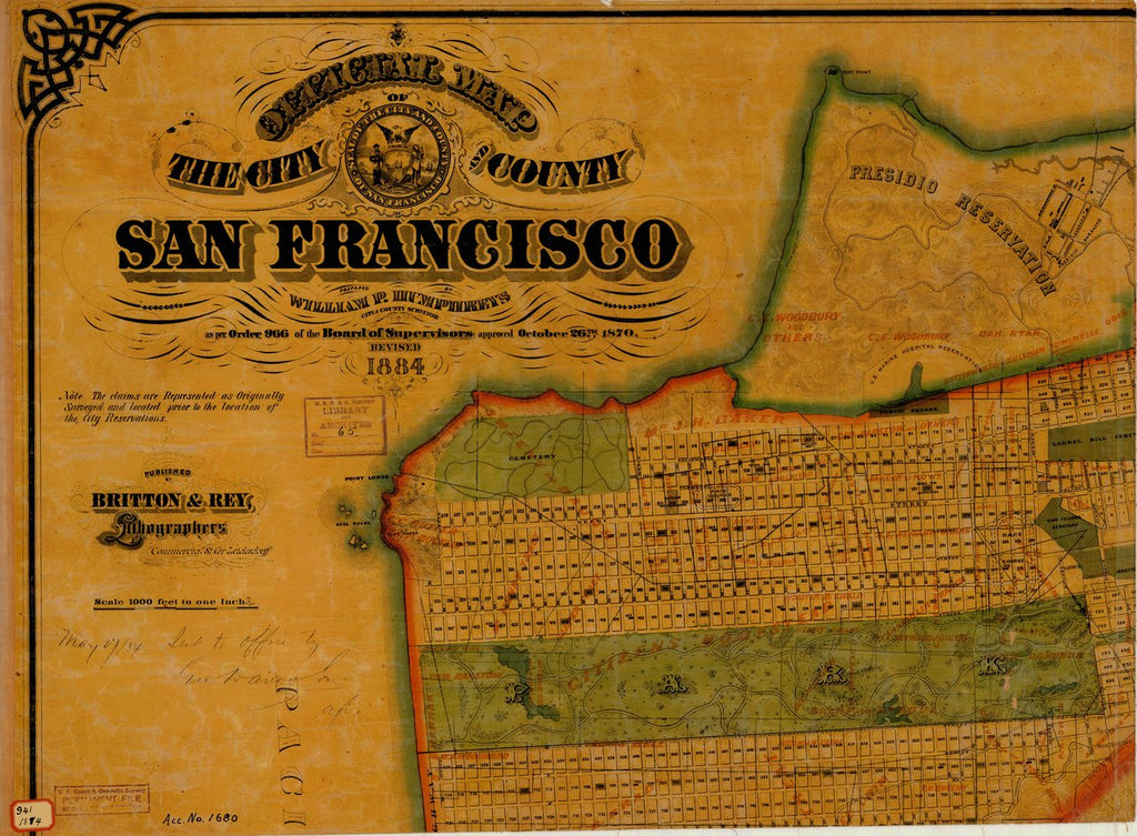18 x 24 inch 1884 US old nautical map drawing chart of SAN FRANCISCO From  Britton & Rey, Lithographers x189