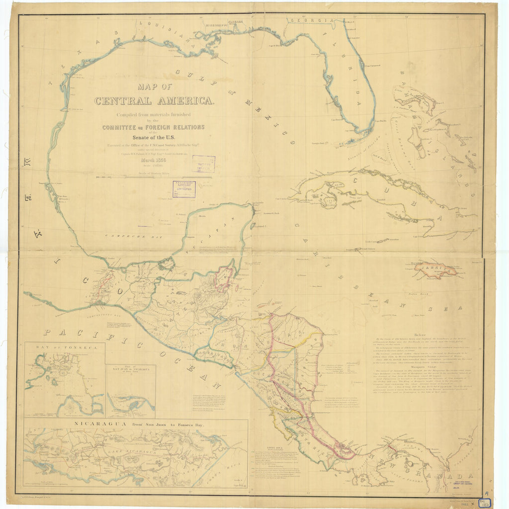 18 x 24 inch 1856 US old nautical map drawing chart of Map of Central America From  U.S. Coast Survey x3276