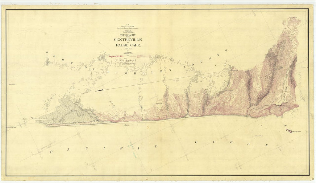 18 x 24 inch 1869 US old nautical map drawing chart of Topography From Centreville to False Cape From  U.S. Coast Survey x422