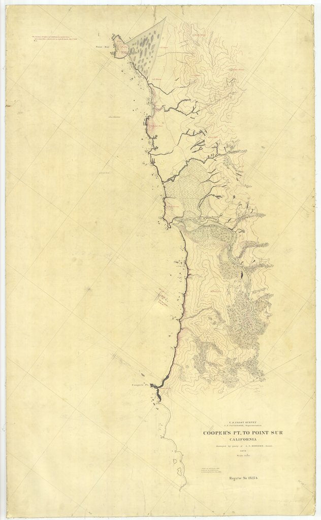 18 x 24 inch 1878 US old nautical map drawing chart of Coopers Pt. to Point Sur, California From  U.S. Coast Survey x2418