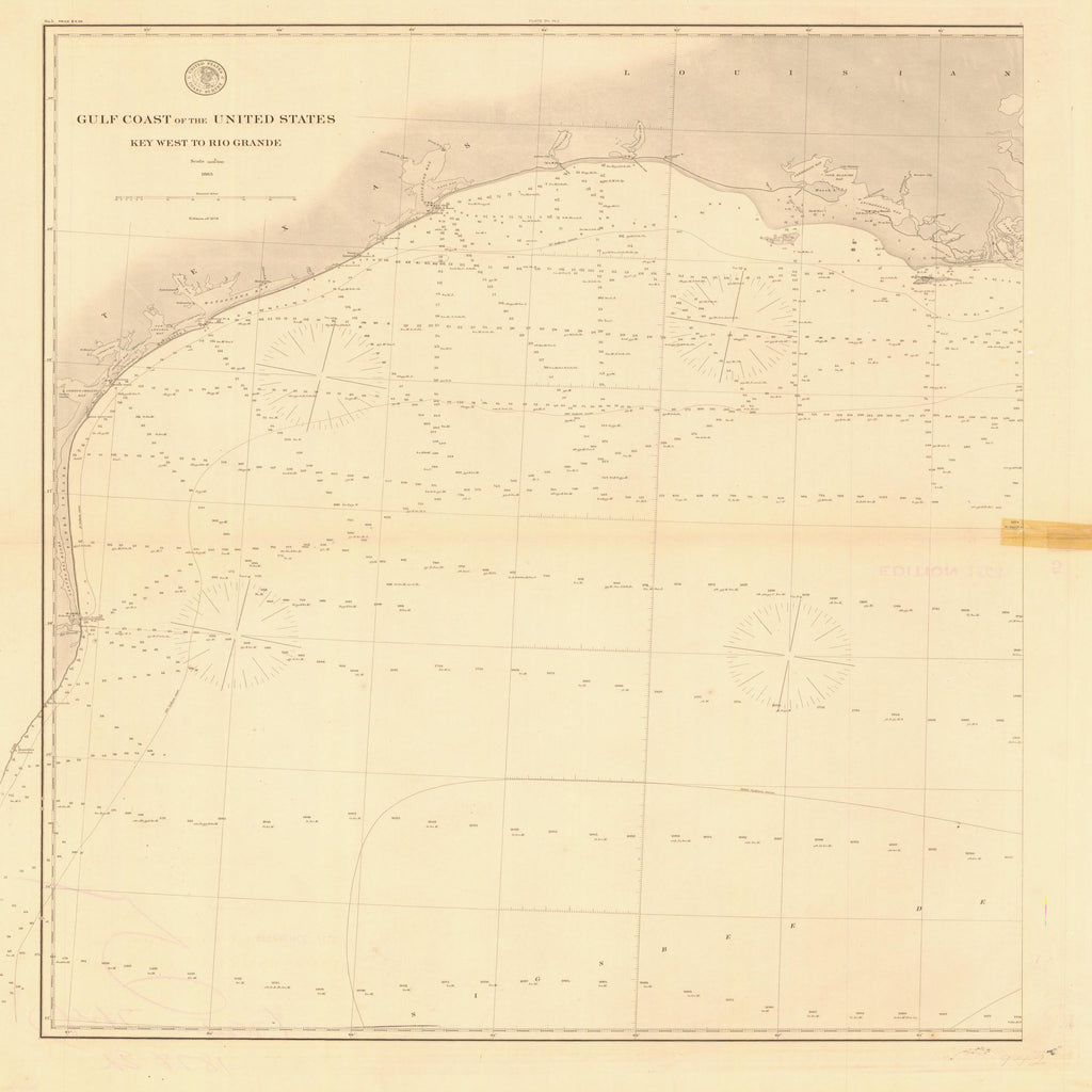 18 x 24 inch 1863 Texas old nautical map drawing chart of GULF COAST OF THE UNITED STATES KEY WEST TO RIO GRANDE From  U.S. Coast Survey x11748