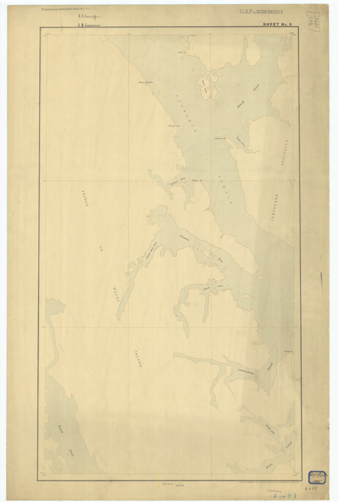 18 x 24 inch 1895 US old nautical map drawing chart of Sheet #6 From  Department of the Interior x2626