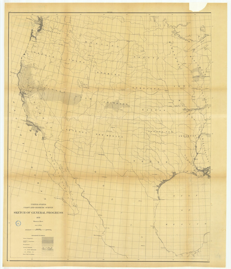 18 x 24 inch 1878 US old nautical map drawing chart of Sketch of General Progress, Western Sheet From  US Coast & Geodetic Survey x1232