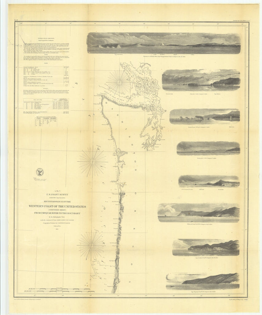 18 x 24 inch 1855 Oregon old nautical map drawing chart of Reconnaissance of the Western Coast of the United States, Northern Sheet, From Umpquah River to the Boundary From  U.S. Coast Survey x10162