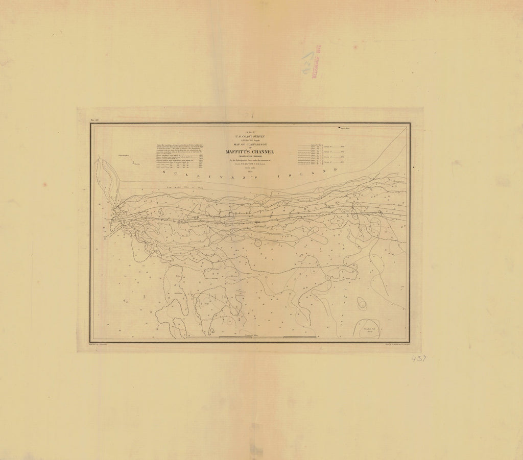 18 x 24 inch 1855 South Carolina old nautical map drawing chart of MAFFITT'S CHANNEL CHARLESTON HARBOR From  U.S. Coast Survey x7542
