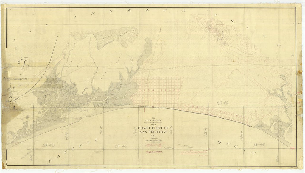 18 x 24 inch 1872 US old nautical map drawing chart of Coast East of San Pedro Bay, Cal., California From  U.S. Coast Survey x466