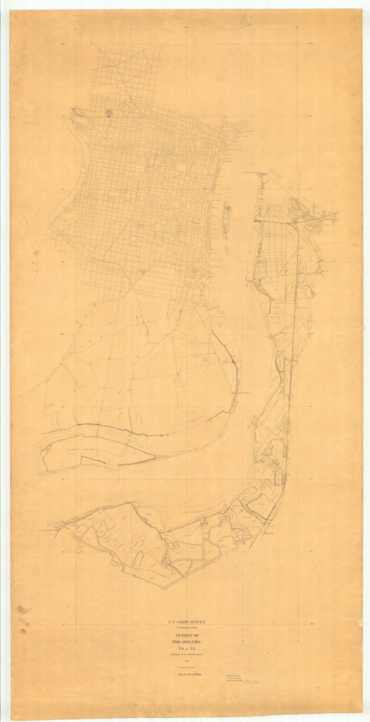 18 x 24 inch 1842 Pennsylvania old nautical map drawing chart of Vicinity of Philadelphia PA and NJ From  U.S. Coast Survey x9496
