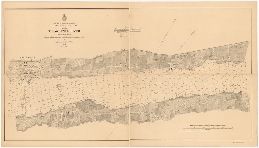 18 x 24 inch 1871 New York old nautical map drawing chart of ST. LAWRENCE RIVER From  Lake Survey x6838