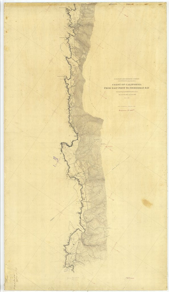 18 x 24 inch 1878 US old nautical map drawing chart of Coast Of California From Salt Point to Fisherman Bay From  U.S. Coast Survey x2419