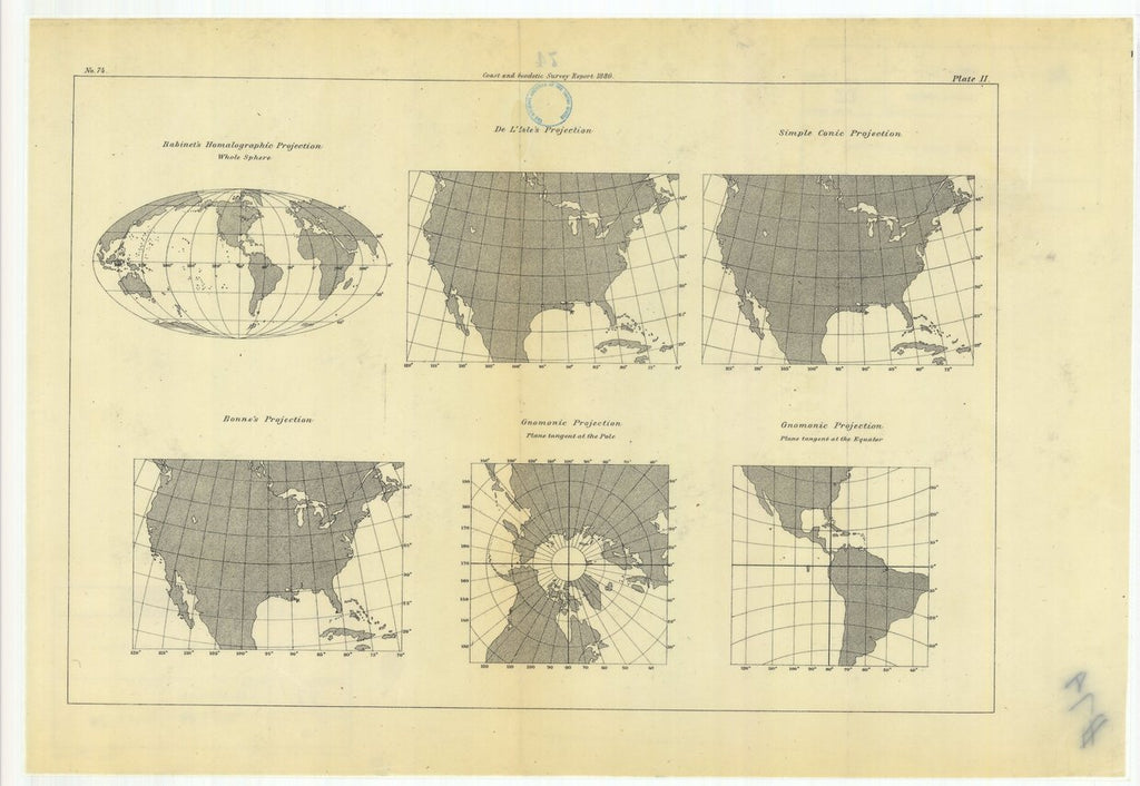 18 x 24 inch 1880 Washington old nautical map drawing chart of Habinet's Homalographic Projection with De L'Isle's Projection, Simple Conic Projection, Gnomonic Projection, Bonne's Projection, From  U.S. Coast Survey x11798