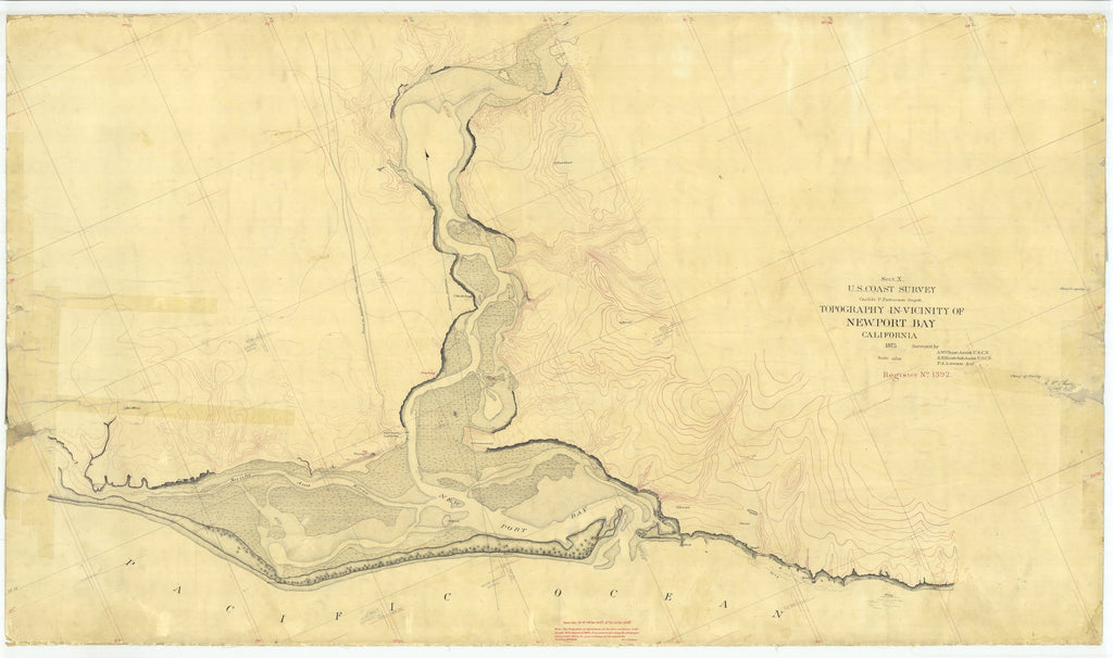 18 x 24 inch 1875 US old nautical map drawing chart of Topography In Vicinity Of Newport Bay, California From  U.S. Coast Survey x2404