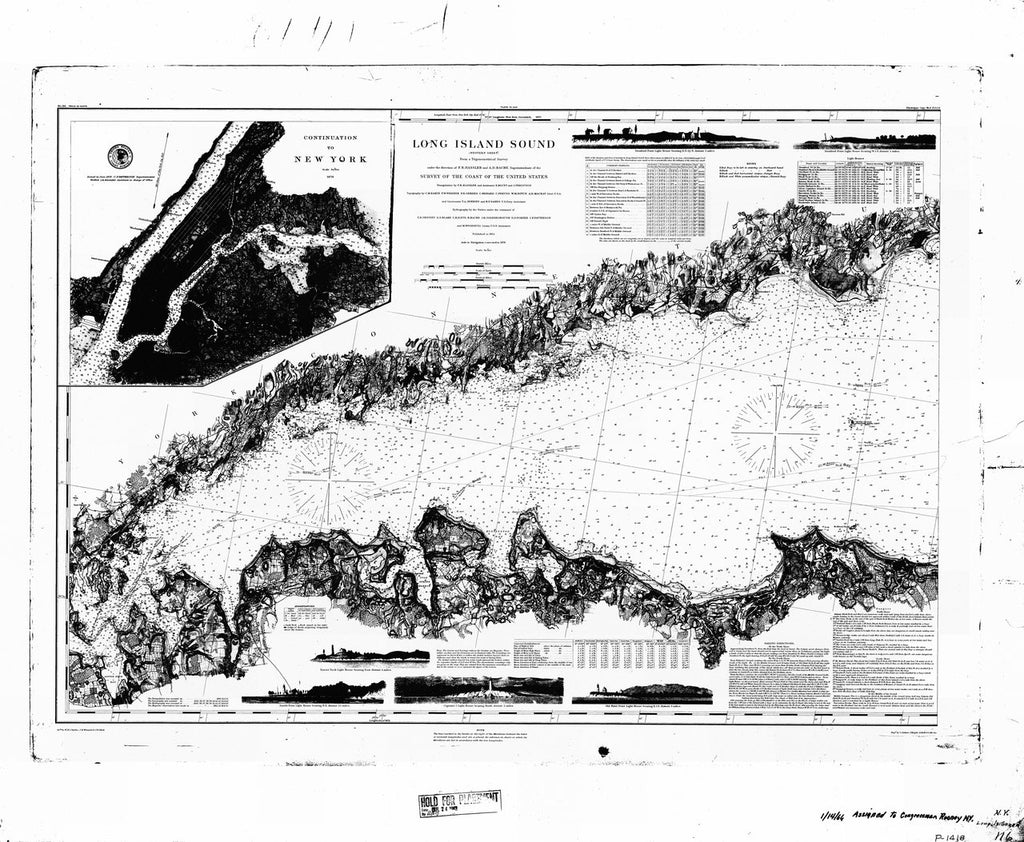 18 x 24 inch 1855 New York old nautical map drawing chart of Long Island Sound From  U.S. Coast Survey x7033