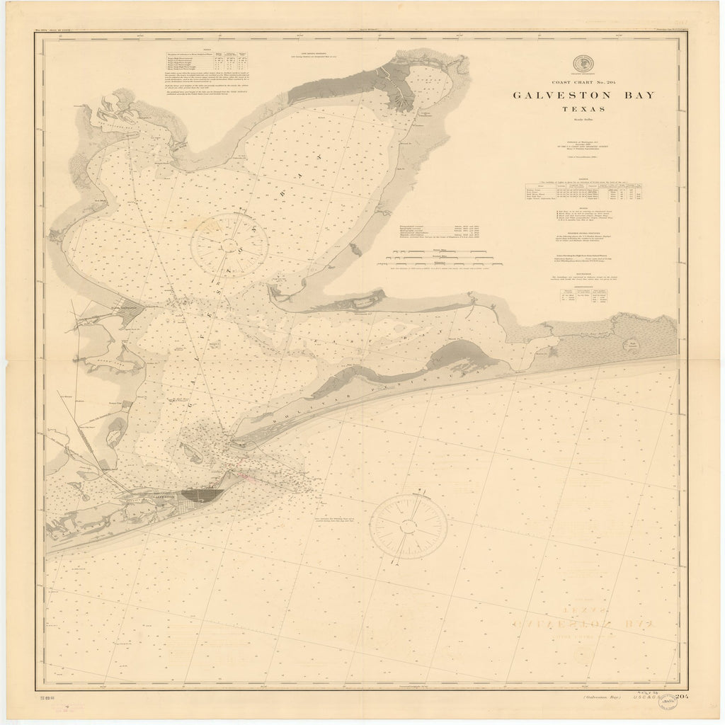 18 x 24 inch 1900 Texas old nautical map drawing chart of GALVESTON BAY, TEXAS From  US Coast & Geodetic Survey x11683