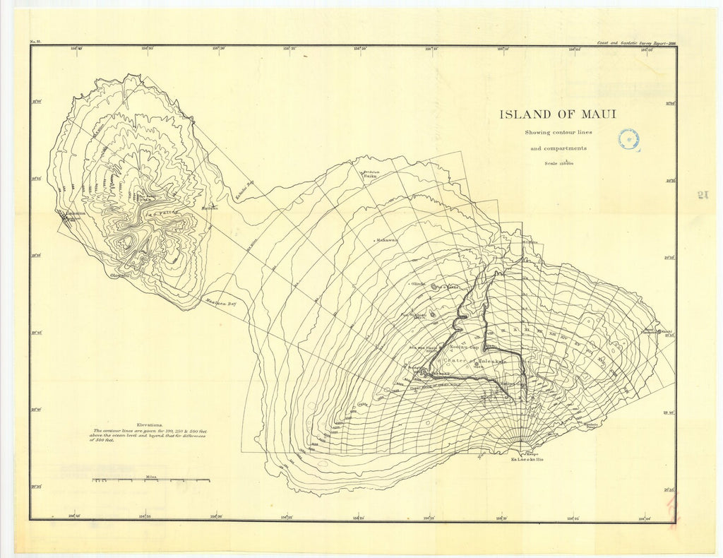 18 x 24 inch 1888 US old nautical map drawing chart of Island of maui, showing contour lines and compartments From  US Coast & Geodetic Survey x1205