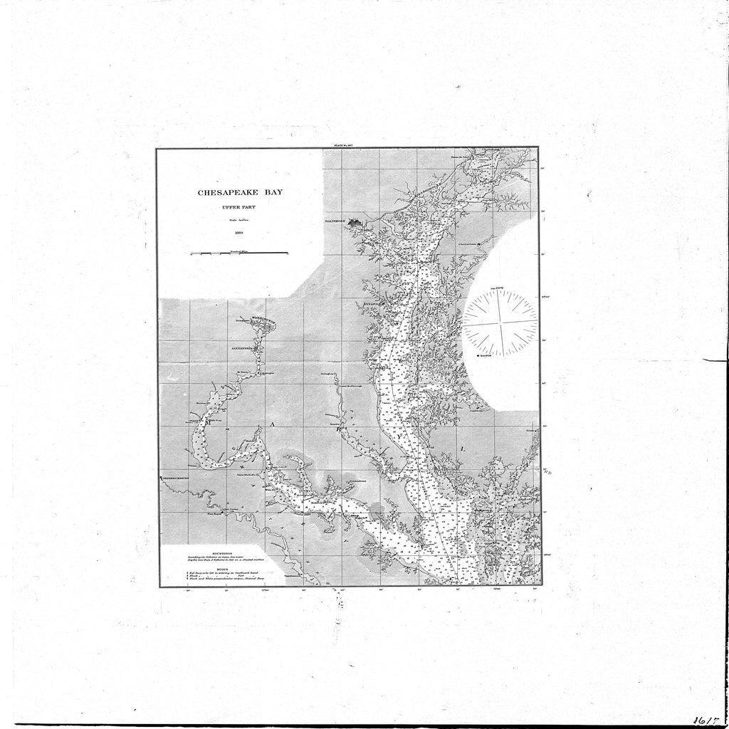 18 x 24 inch 1880 US old nautical map drawing chart of Chesapeake Bay : Upper Part From  U.S. Coast Survey x1934