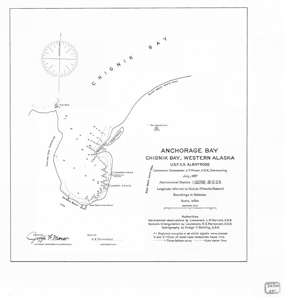 18 x 24 inch 1897 US old nautical map drawing chart of ANCHORAGE BAY CHIGNIK BAY WESTERN ALASKA From  USFC x855