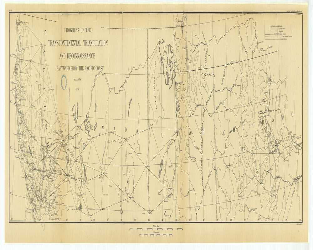 18 x 24 inch 1879 US old nautical map drawing chart of Progress of the Transcontinental Triangulation and Reconnaissance Eastward from the Pacific Coast From  US Coast & Geodetic Survey x128