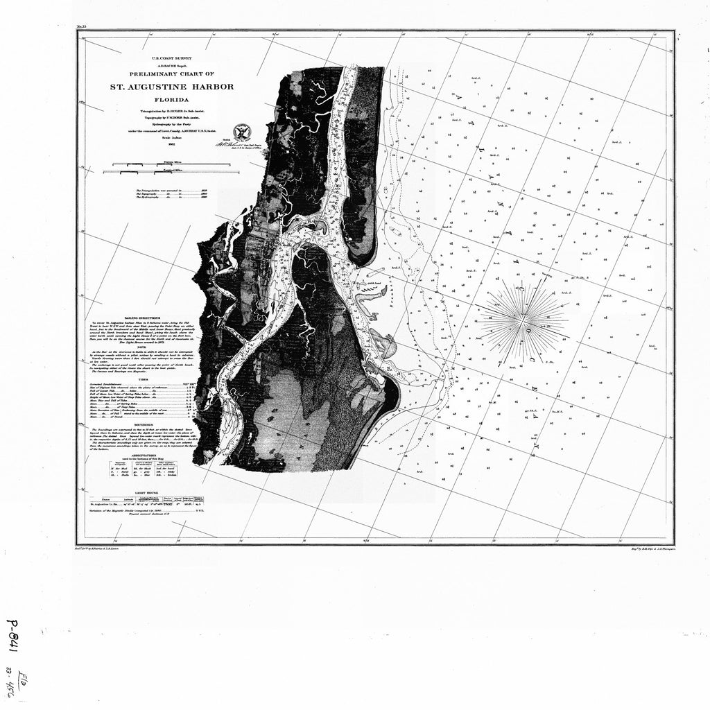 18 x 24 inch 1862 US old nautical map drawing chart of ST AUGUSTINE HARBOR From  NOAA x1345