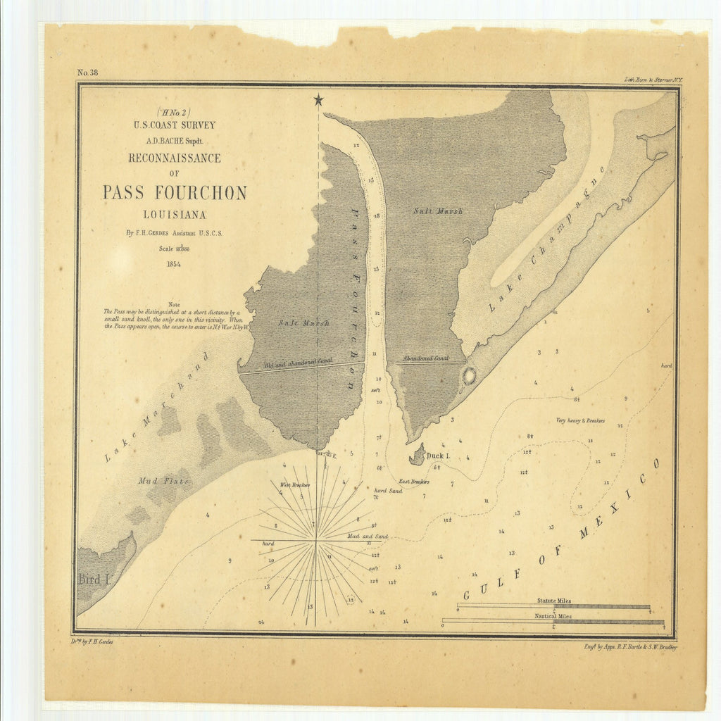 18 x 24 inch 1854 US old nautical map drawing chart of Reconnaissance of Pass Fourchon, Louisiana From  U.S. Coast Survey x1990