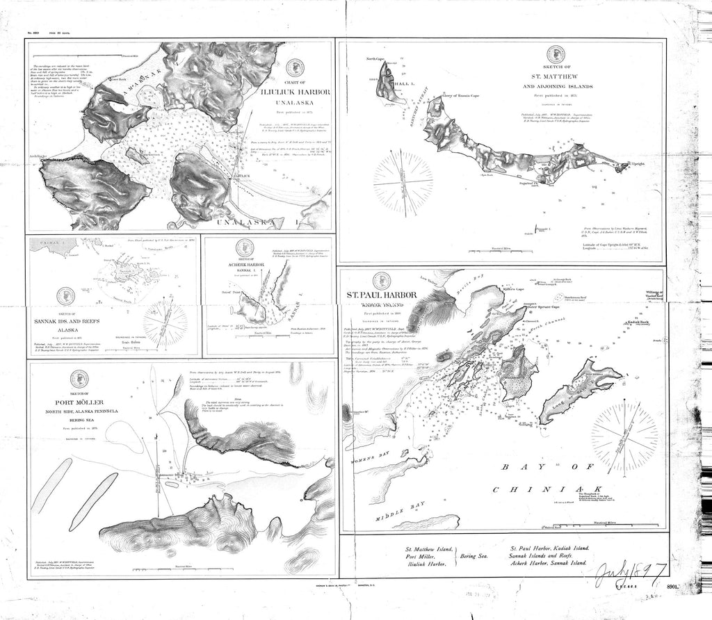 18 x 24 inch 1897 US old nautical map drawing chart of [Alaska Harbor] From  C&GS x1434