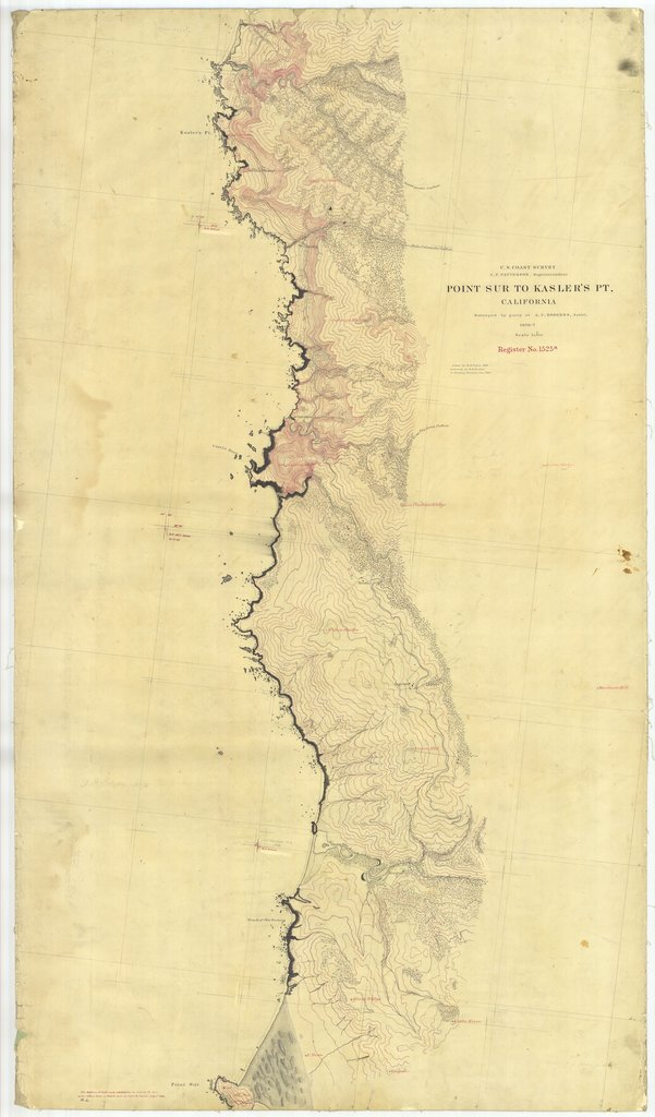 18 x 24 inch 1876 US old nautical map drawing chart of Point Sur to Kaslers Pt., California From  U.S. Coast Survey x2409