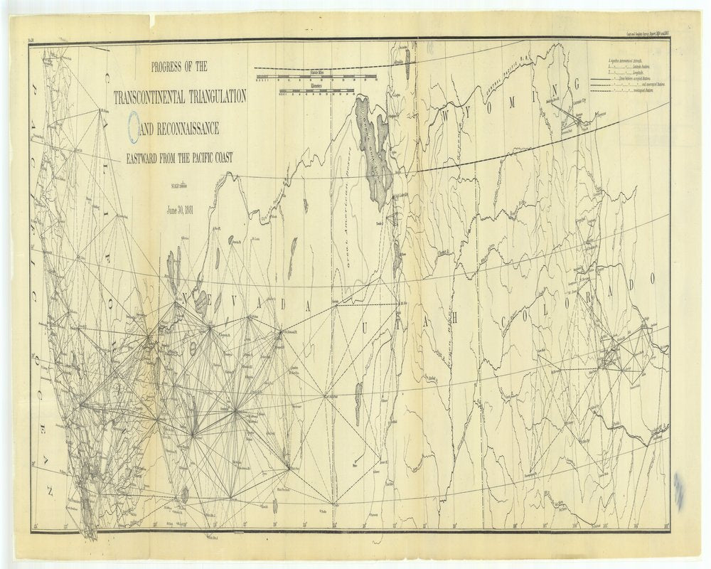 18 x 24 inch 1881 US old nautical map drawing chart of Progress of the Transcontinental Triangulation and Reconnaissance, Eastward from the Pacific Coast From  US Coast & Geodetic Survey x129