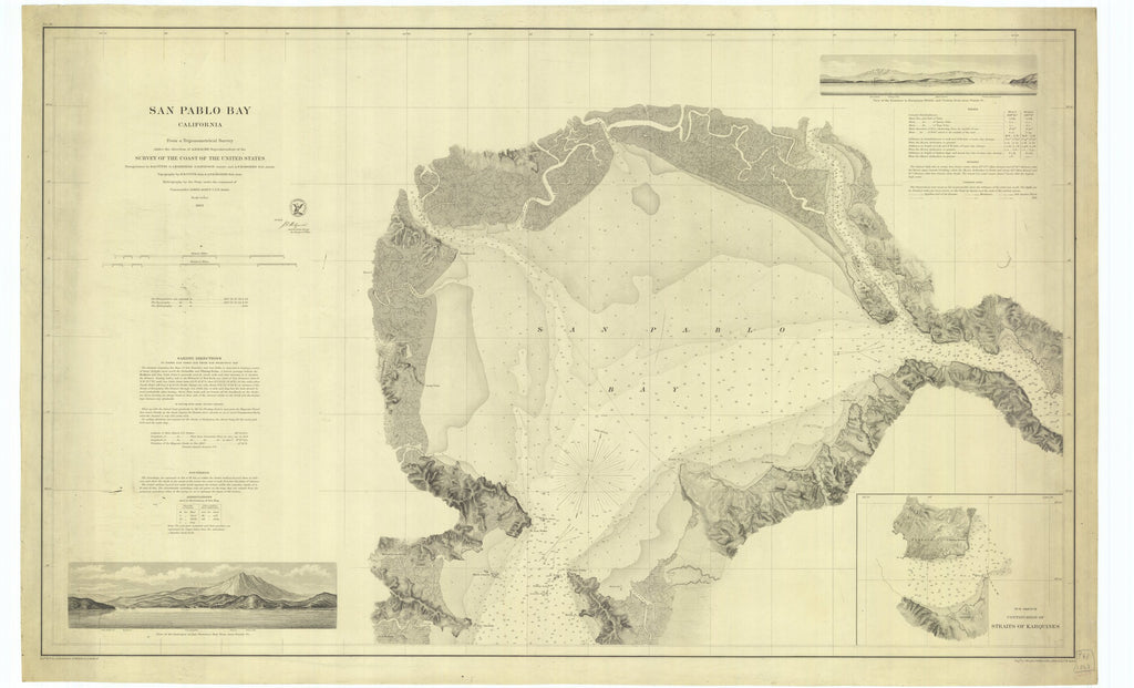 18 x 24 inch 1863 California old nautical map drawing chart of San Pablo Bay California From  U.S. Coast Survey x7385