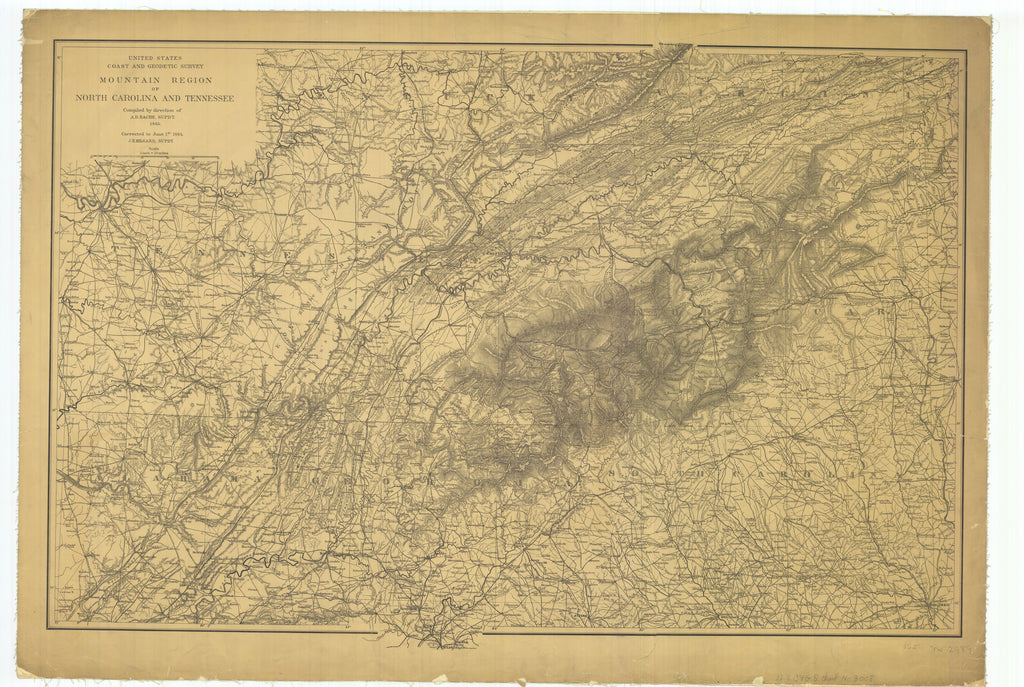 18 x 24 inch 1884 US old nautical map drawing chart of Mountain Region of North Carolina and Tennessee From  US Coast & Geodetic Survey x981