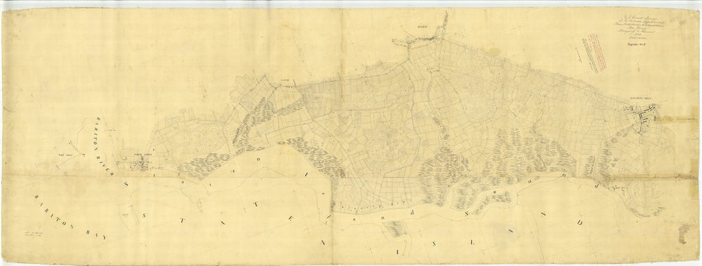 18 x 24 inch 1836 New York old nautical map drawing chart of From Rariton River to Elizabeth town From  U.S. Coast Survey x6830