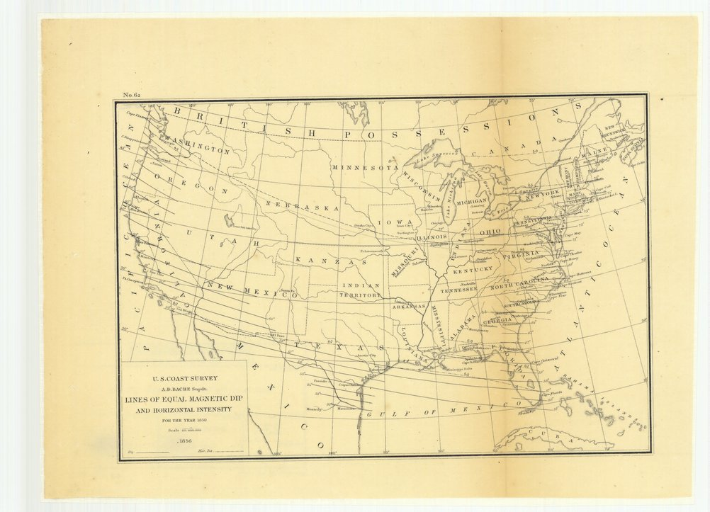 18 x 24 inch 1856 US old nautical map drawing chart of Lines of Equal Magnetic Dip and Horizontal Intensity for the Year 1850 From  U.S. Coast Survey x1483