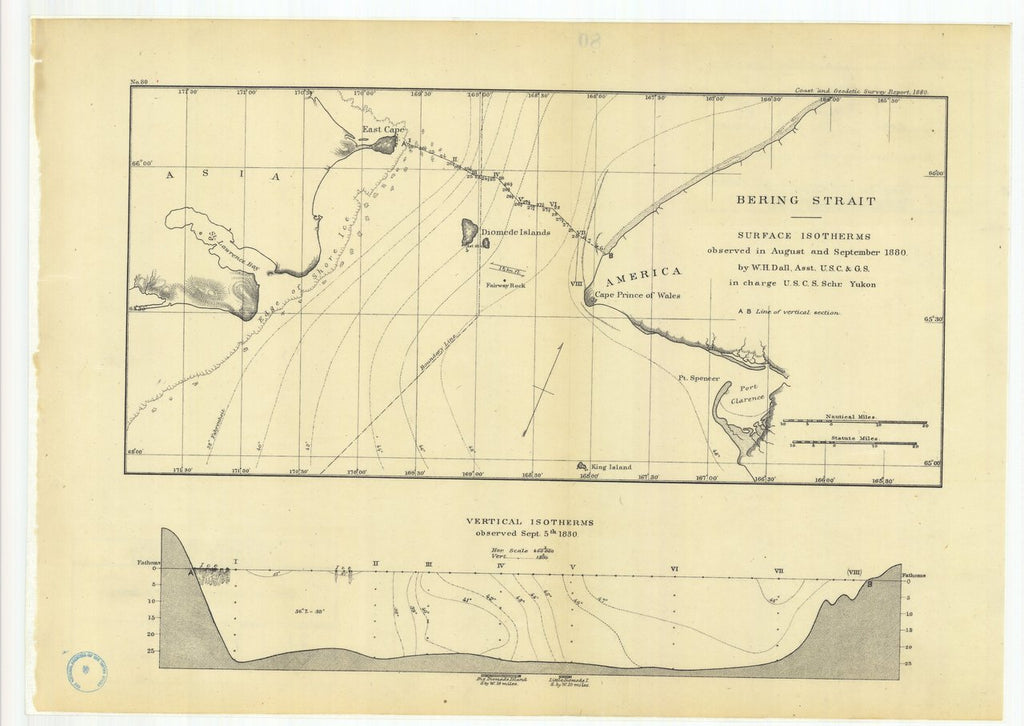 18 x 24 inch 1880 US old nautical map drawing chart of Bering Strait Surface Isotherms Observed in August and September 1880 From  US Coast & Geodetic Survey x210