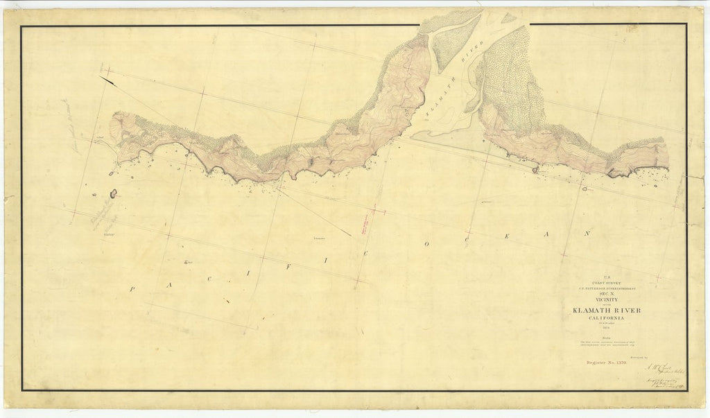 18 x 24 inch 1874 US old nautical map drawing chart of Vicinity of the Klamath River in Del Norte County, CA From  U.S. Coast Survey x486