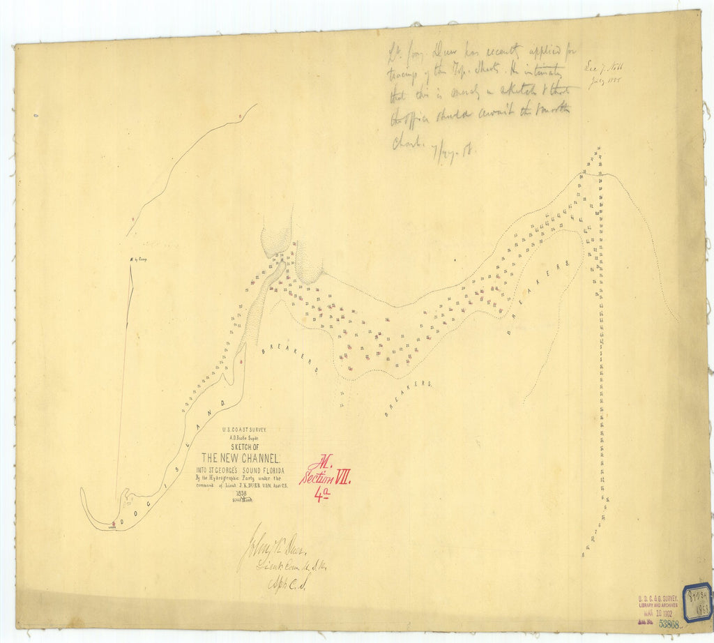 18 x 24 inch 1858 US old nautical map drawing chart of Sketch of the New Channel into Saint George's Sound Florida From  U.S. Coast Survey x1751