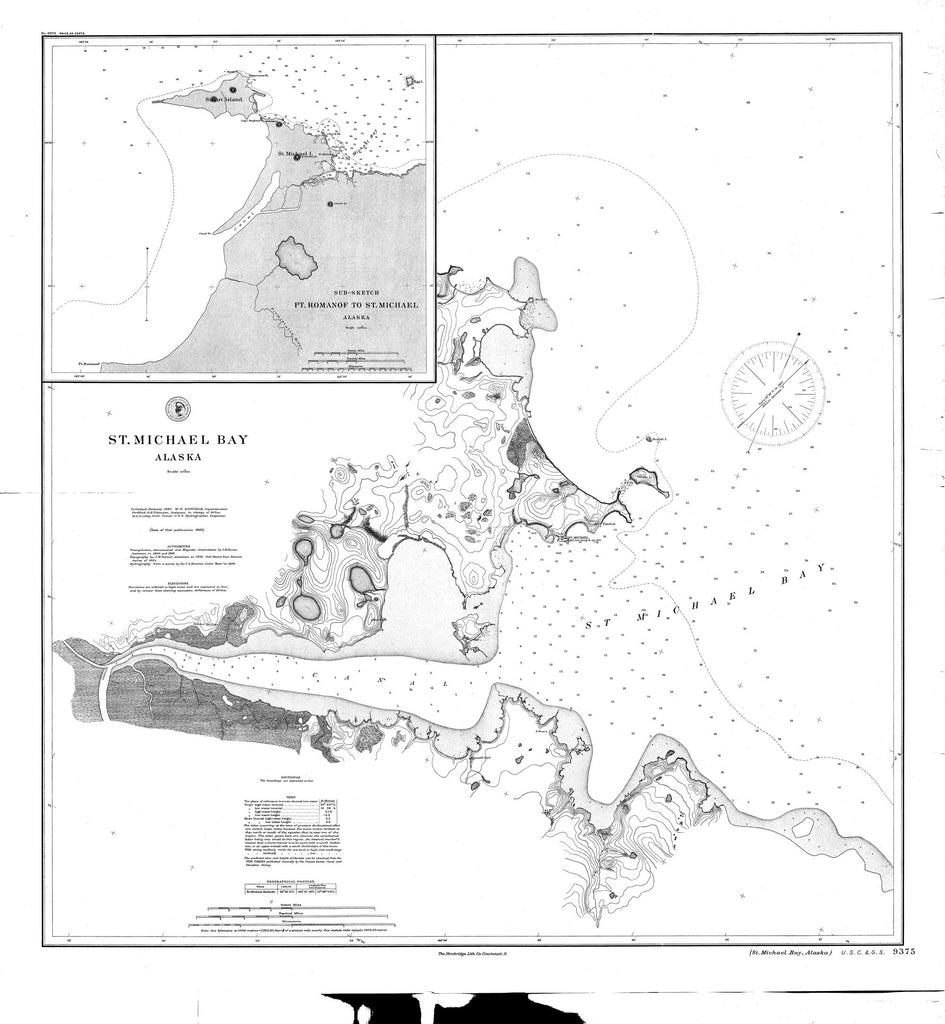 18 x 24 inch 1897 US old nautical map drawing chart of St. Michael Bay From  NOAA x856