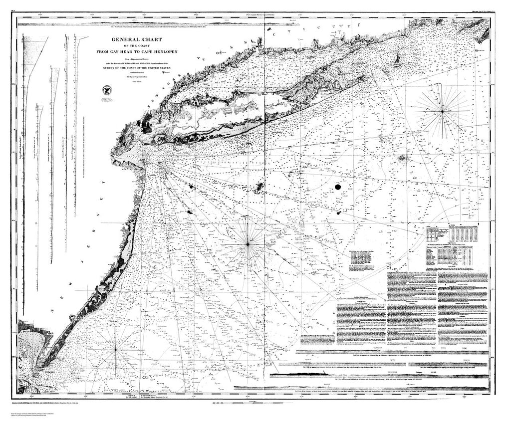 18 x 24 inch 1852 New York old nautical map drawing chart of General Chart of the Coast from Gay Head to Cape Henlopen From  U.S. Coast Survey x7673