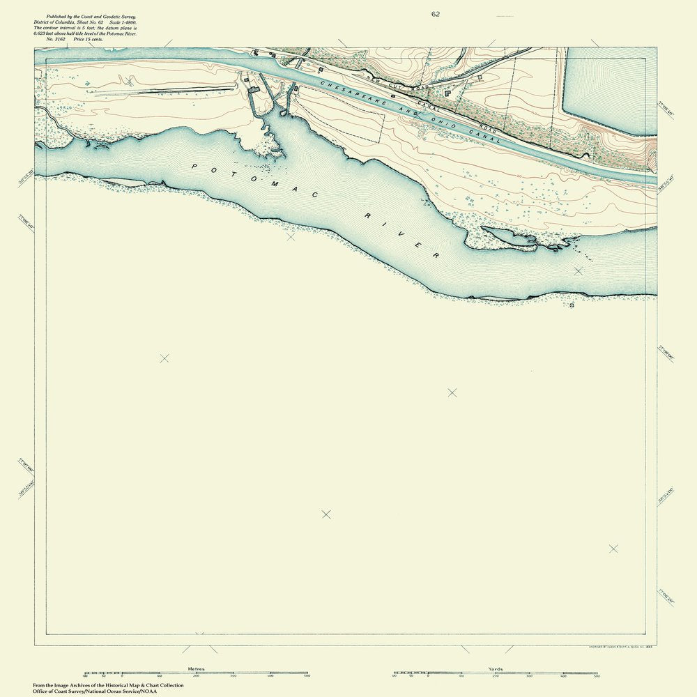 18 x 24 inch 1888 US old nautical map drawing chart of Topographic Map of Washington and Vicinity, Sheet 62 From  NOAA x665