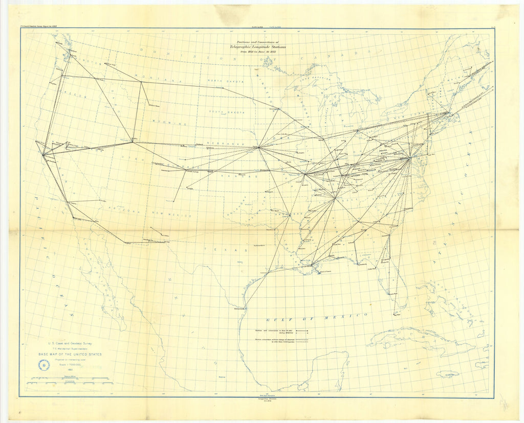 18 x 24 inch 1893 USA old nautical map drawing chart of No. 5. Map allowing longitude stations and connections determined by the electric telegraph between 1846 and June 30, 1893. From  US Coast & Geodetic Survey x12086