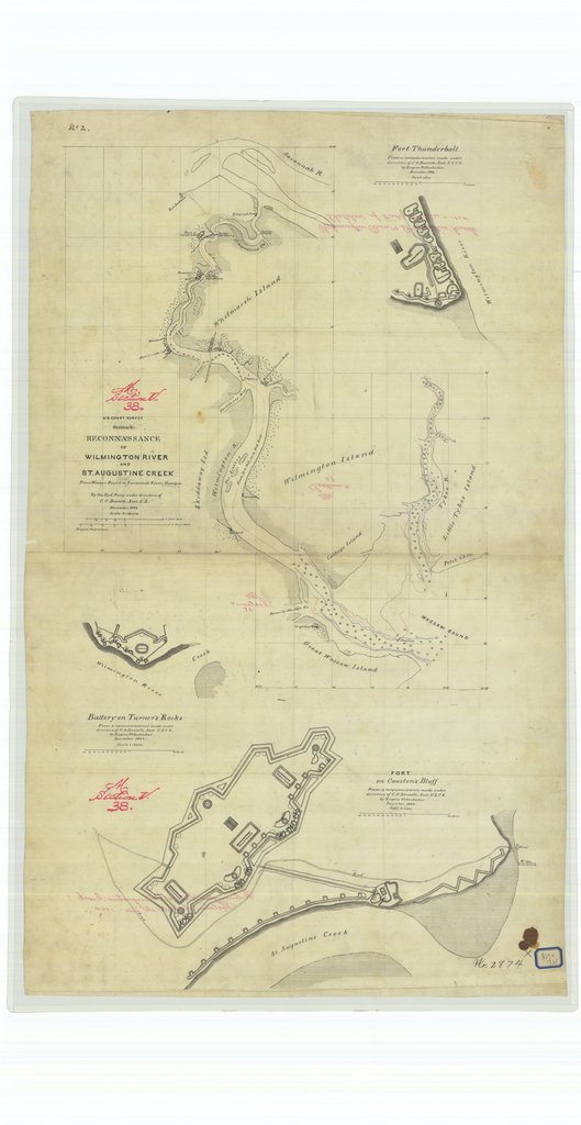18 x 24 inch 1864 US old nautical map drawing chart of Reconnaissance of Wilmington River and Saint Augustine Creek From Wassa Sound to Savannah River Georgia From  U.S. Coast Survey x555
