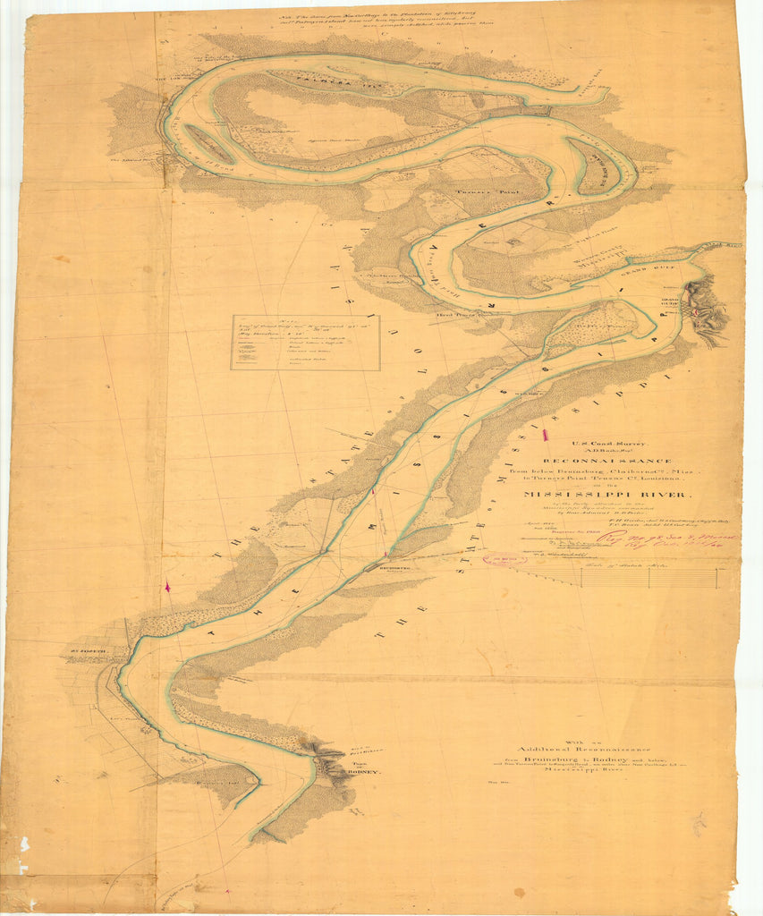 18 x 24 inch 1864 US old nautical map drawing chart of Reconnaissance of the Mississippi River From below Bruinsburg, Claiborne, to Turners Point Tensas LA From  U.S. Coast Survey x2028
