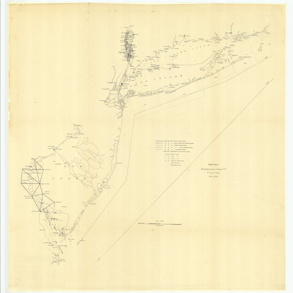 18 x 24 inch 1852 New Jersey old nautical map drawing chart of Sketch B Showing the Progress of Section Number 2 From  U.S. Coast Survey x7421