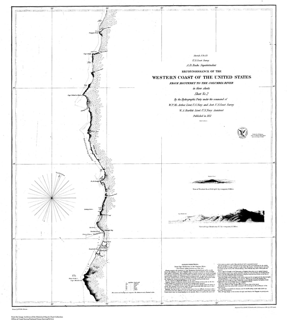 18 x 24 inch 1851 California old nautical map drawing chart of Reconnaissance of the Western Coast of the US, from Monterey to the Columbia River, Sheet 2 From  U.S. Coast Survey x8041
