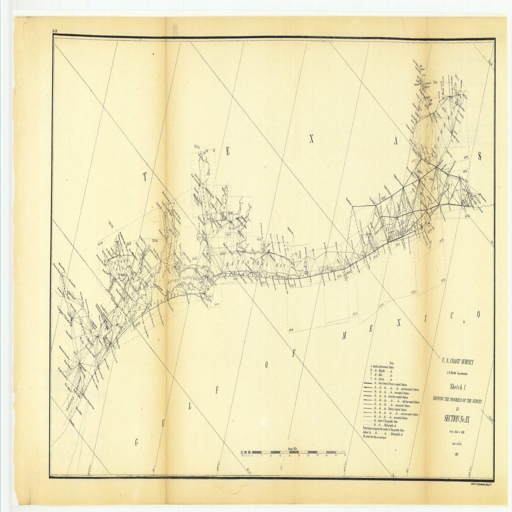18 x 24 inch 1861 Texas old nautical map drawing chart of Sketch I Showing the Progress of the Survey in Section Number 9 from 1848 to 1861 From  U.S. Coast Survey x11724