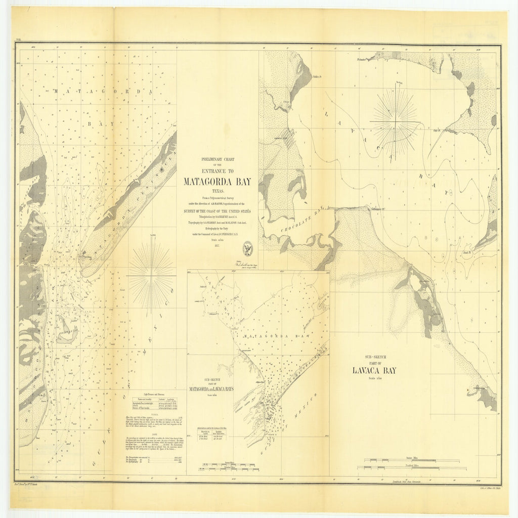 18 x 24 inch 1857 Texas old nautical map drawing chart of Preliminary Chart of the Entrance to Matagorda Bay, Texas with Sub Sketch Part of Matagorda and Lavaca Bays and with Sub Sketch Part of Lavaca Bay From  U.S. Coast Survey x11695