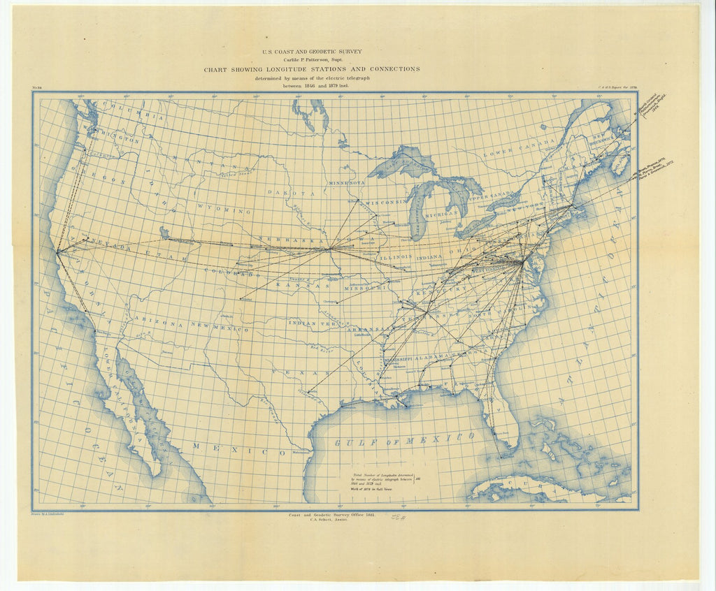 18 x 24 inch 1879 US old nautical map drawing chart of Chart Showing Longitude Stations and Connections Determined by Means of the Electric Telegraph Between 1846 and 1879 From  US Coast & Geodetic Survey x1874