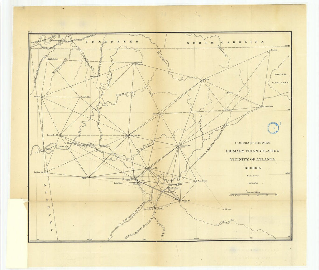 18 x 24 inch 1873 US old nautical map drawing chart of Primary Triangulation, Vicinity of Atlanta, Georgia From  U.S. Coast Survey x957