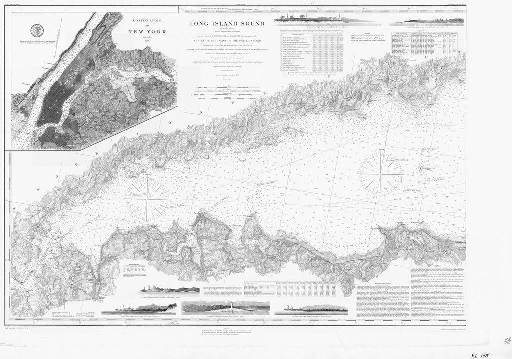 18 x 24 inch 1878 New York old nautical map drawing chart of LONG ISLAND SOUND From  US Coast & Geodetic Survey x7079